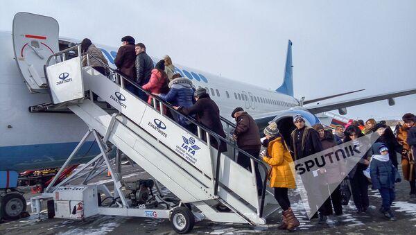 Самолет авиакомпании Победа в аэропорту Гюмри  - Sputnik Արմենիա