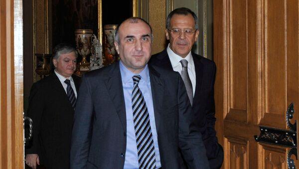 Главы МИД России, Армении и Азербайджана во время встречи в Москве - Sputnik Армения