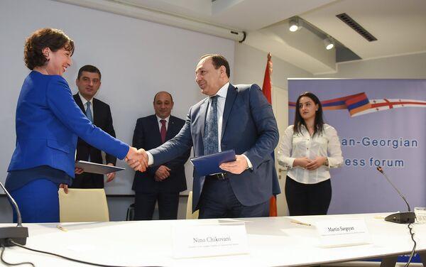 Армяно-грузинский бизнес форум. Нино Чиковани и Мартин Саргсян - Sputnik Армения