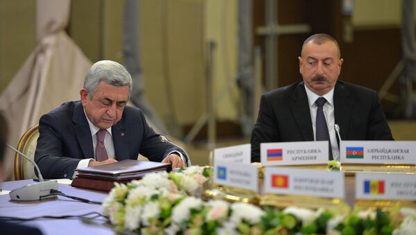 Президенты Армении и Азербайджана Серж Саргсян и Ильхам Алиев - Sputnik Армения
