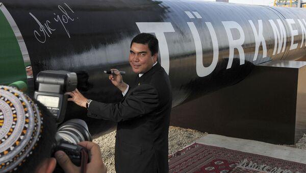 Президент Туркмении Гурбангулы Бердымухамедов у символичной газовой трубы - Sputnik Արմենիա