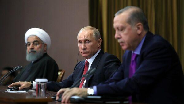 Встреча президента РФ В. Путина с президентом Ирана Х. Рухани и президентом Турции Р. Эрдоганом - Sputnik Армения