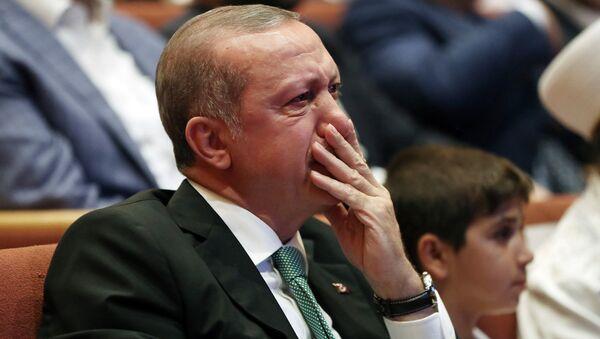 Президент Турции Реджеп Тайип Эрдоган во время встречи со сторонниками. Стамбул, Турция - Sputnik Армения