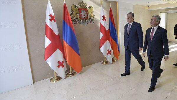 Президент РА Серж Саргсян с премьер-министром Грузии Гиоргием Квирикашвили - Sputnik Армения